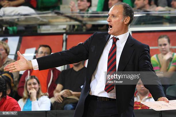 Dusko Ivanovic head coach of Caja Laboral reacts during the Euroleague Basketball Regular Season 20092010 Game Day 3 between Union Olimpija Ljubljana...