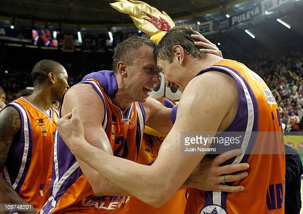 Dusko Savanovic #20 and Serhiy Lischuk #12 of Power Electronics Valencia celebrate after the 20102011 Turkish Airlines Euroleague Top 16 Date 6 game...