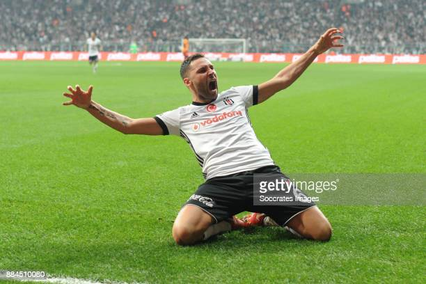 Dusko Tosic of Besiktas celebrates 2-0 during the Turkish Super lig match between Besiktas v Galatasaray at the Vodafone Park on December 2, 2017 in...