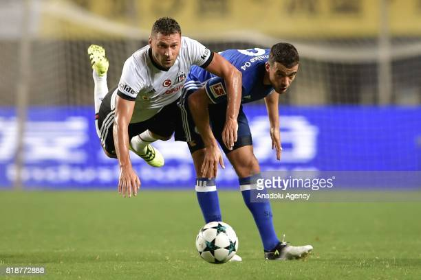 Dusko Tosic of Besiktas in action during the International Champions Cup match between Schalke 04 and Besiktas at Zhuhai Sports Centre Stadium in...