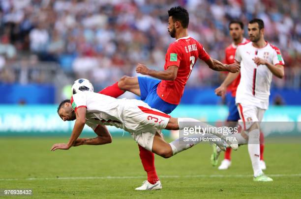 Dusko Tosic of Serbia is challenged by Giancarlo Gonzalez of Costa Rica during the 2018 FIFA World Cup Russia group E match between Costa Rica and...