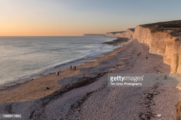 dusks warm light falling across the seven sisters chalk cliffs, east sussex, uk. - seven sisters cliffs stock photos and pictures