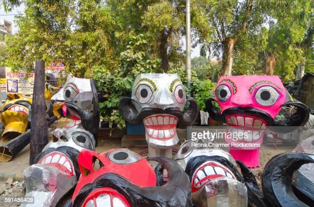 dussehra festival ravan effigy making delhi, india - dussehra - fotografias e filmes do acervo