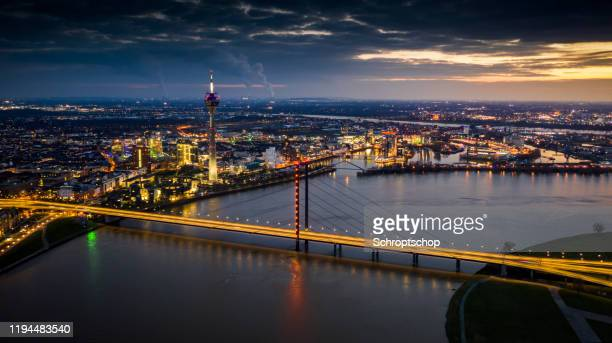 düsseldorf citycape, germany - aerial - düsseldorf stock pictures, royalty-free photos & images