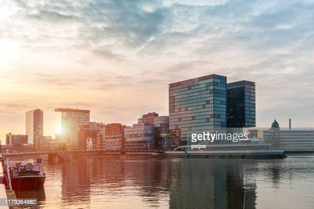 dusseldorf media harbor in germany - düsseldorf stock pictures, royalty-free photos & images