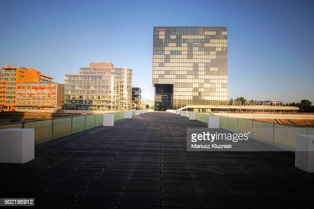Dusseldorf Rheinturm and Gehry-buildings Der Neue Zollhof in Hafen
