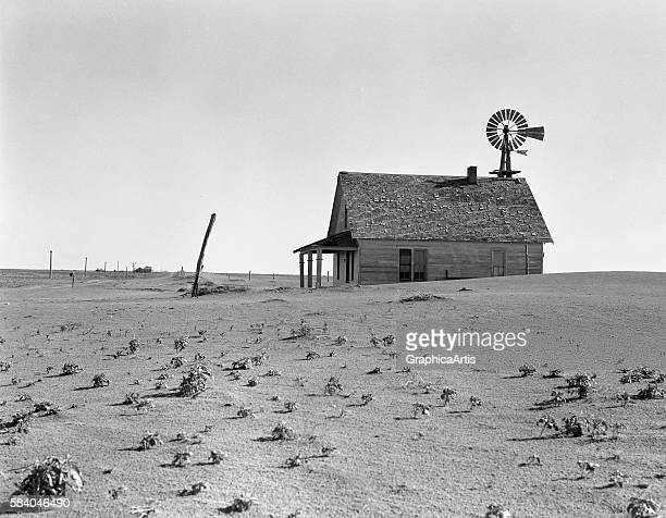 Dust Bowl Farm in Dalhart, Texas during the Great Depression , 1938. Silver print.