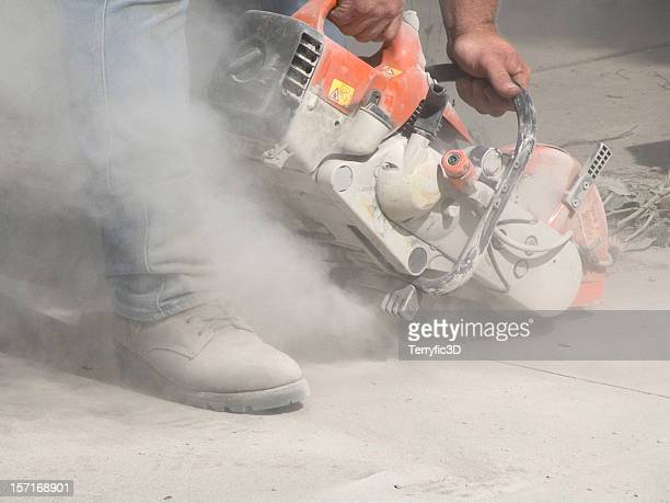 Dust from Cutting Concrete with a Circular Saw