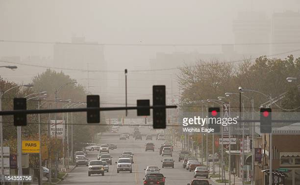 Dust obscures the Wichita Kansas skyline as strong winds whipped through southcentral Kansas Thursday October 18 2012 I35 near the Oklahoma board was...
