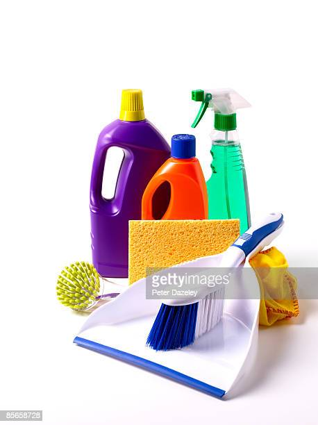 Dust pan and brush with cleaning materials