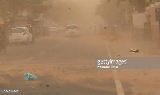 A dust storm engulfs Jaipur city on May 17 2019 in Jaipur India The maximum temperature dropped by a few notches in Rajasthan on Friday after dust...