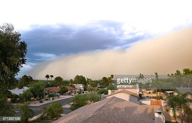 dust storm rolling over residential area  - dust storm stock pictures, royalty-free photos & images