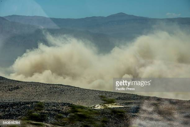 A dust storm with no visibility closed SR190 between Stovepipe Wells and Panamint Springs in Death Valley on June 15 in CA United States Dangerous...