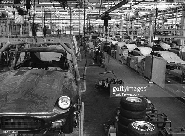 A dustcovered Jaguar Etype at the Jaguar factory Coventry 2nd September 1972