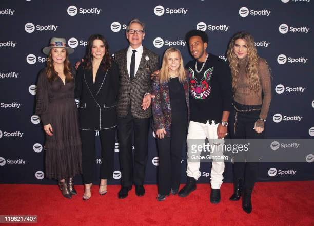 Dustee Jenkins Global Head of Communications Spotify Sophia Bush Paul Feig Dawn Ostroff Chief Content Officer Spotify Ludacris and Lele Pons pose for...
