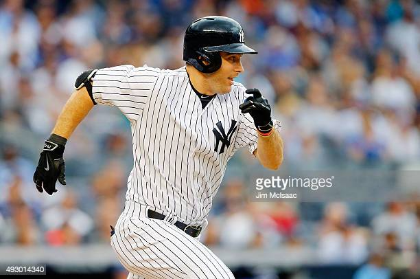 Dustin Ackley of the New York Yankees in action against the Toronto Blue Jays at Yankee Stadium on September 12 2015 in the Bronx borough of New York...