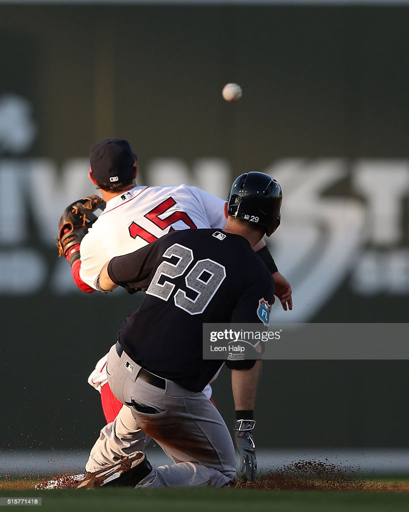 Dustin Ackley #29 of the New York Yankees slides safely into second base as Dustin Pedroia #15 of the Boston Red Sox attempts to make the play during the fourth inning of the Spring Training Game on March 15, 2016 at Jet Blue Park at Fenway South, Fort Myers, Florida. The Yankees defeated the Red Sox 6-3.