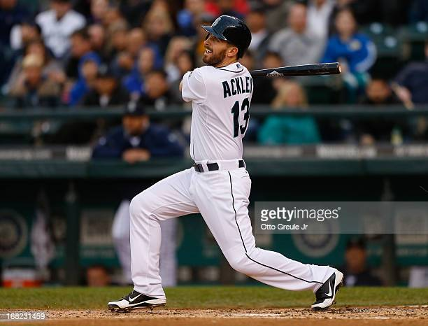 Dustin Ackley of the Seattle Mariners bats against the Baltimore Orioles at Safeco Field on April 30 2013 in Seattle Washington