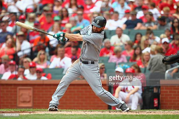 Dustin Ackley of the Seattle Mariners bats against the St Louis Cardinals at Busch Stadium on September 15 2013 in St Louis Missouri The Cardinals...