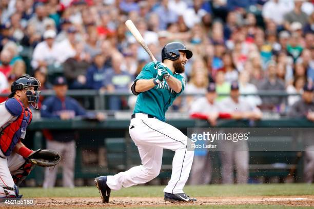 Dustin Ackley of the Seattle Mariners bats during the game against the Boston Red Sox at Safeco Field on June 23 2014 in Seattle Washington The...
