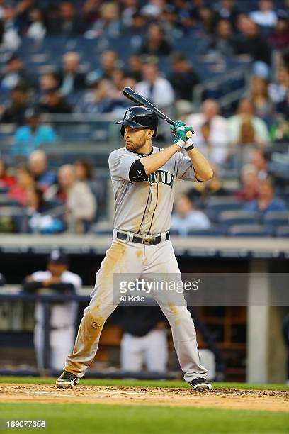 Dustin Ackley of the Seattle Mariners in action against the New York Yankees during their game on May 15 2013 at Yankee Stadium in the Bronx borough...