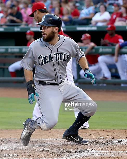 Dustin Ackley of the Seattle Mariners in action against the Texas Rangers at Rangers Ballpark in Arlington on August 17 2013 in Arlington Texas