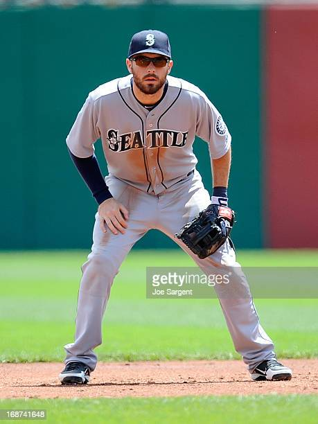 Dustin Ackley of the Seattle Mariners stands ready at second base during the game against the Pittsburgh Pirates on May 8 2013 at PNC Park in...