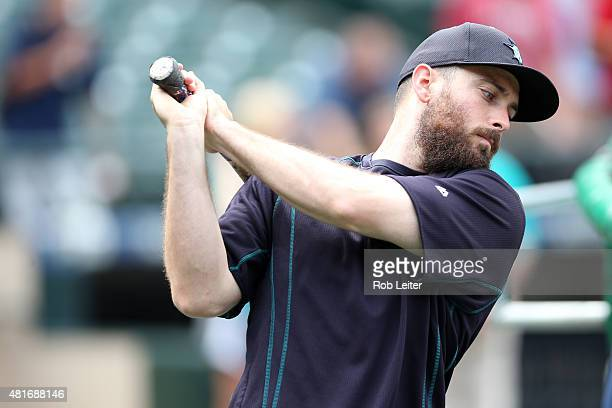 Dustin Ackley of the Seattle Mariners takes batting practice before the game against the Detroit Tigers at Safeco Field on July 7 2015 in Seattle...