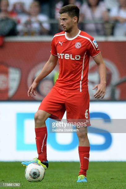 Dustin Bomheuer of Duessdorf plays the ball during the Second Bundesliga match between Fortuna Duesseldorf and 1860 Muenchen at Esprit Arena on...