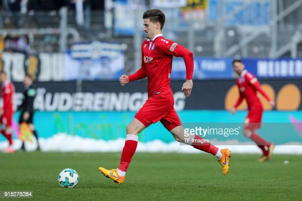 Dustin Bomheuer of Duisburg controls the ball during the Second Bundesliga match between SV Darmstadt 98 and MSV Duisburg at MerckStadion am...