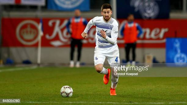 Dustin Bomheuer of Duisburg runs with the ball during the Third League match between MSV Duisburg and 1 FC Magdeburg at SchauinslandReisenArena on...
