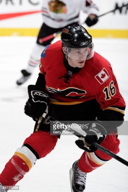 Dustin Boyd of the Calgary Flames skates against the Chicago Blackhawks on December 19 2008 at Pengrowth Saddledome in Calgary Alberta Canada The...
