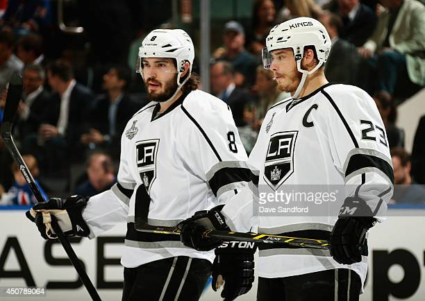 Dustin Brown and Drew Doughty of the Los Angeles Kings play against the New York Rangers in the first period of Game Four of the 2014 Stanley Cup...
