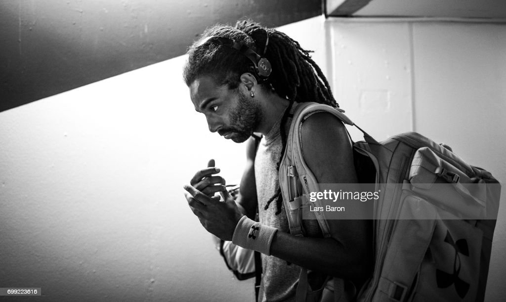 Dustin Brown of Germany is seen before his match against Roberto Bautista Agut of Spain during Day 5 of the Gerry Weber Open 2017 at Gerry Weber Stadium on June 21, 2017 in Halle, Germany.