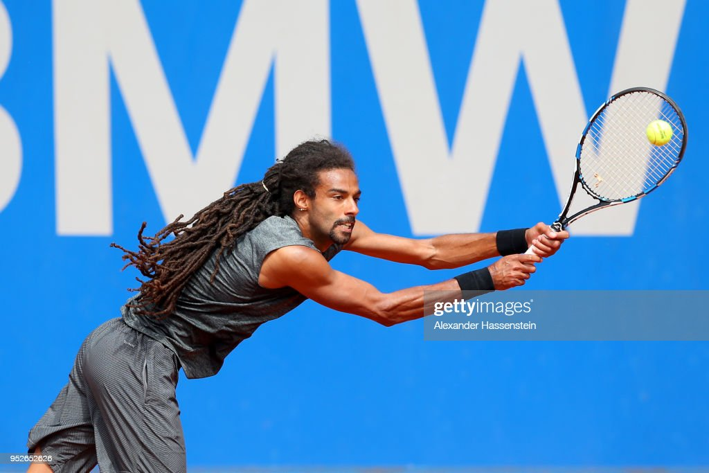 Dustin Brown of Germany plays a fore hand during his qualification match against Dennis Novak of Austria on day 2 of the BMW Open at MTTC IPHITOS on April 29, 2018 in Munich, Germany.
