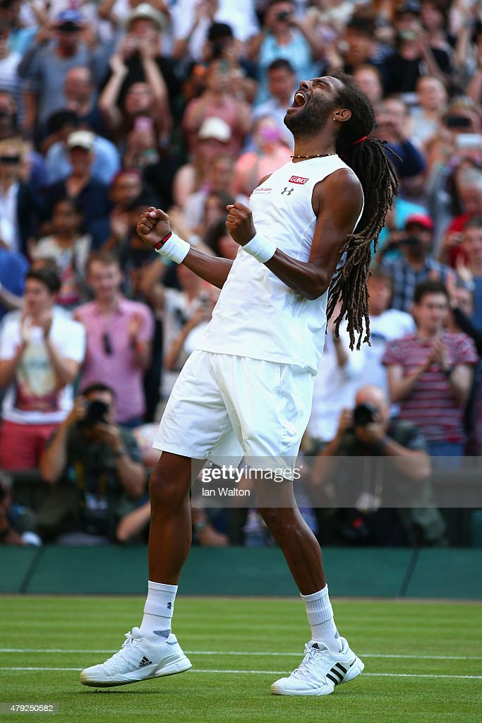 Dustin Brown of Germany reacts in his Gentlemens Singles Second Round match against Rafael Nadal of Spain during day four of the Wimbledon Lawn Tennis Championships at the All England Lawn Tennis and Croquet Club on July 2, 2015 in London, England.
