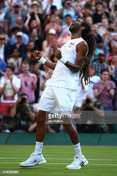 Dustin Brown of Germany reacts in his Gentlemens Singles Second Round match against Rafael Nadal of Spain during day four of the Wimbledon Lawn...