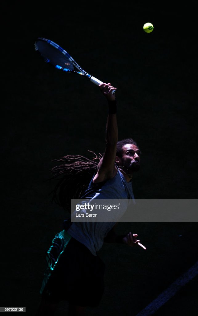 Dustin Brown of Germany serves during his match against Vasek Pospisil of Canada during Day 3 of the Gerry Weber Open 2017 at on June 19, 2017 in Halle, Germany.