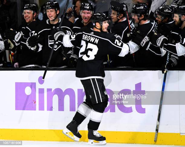 Dustin Brown of the Los Angeles Kings celebrate his shorthanded penalty shot goal during the third period in a 41 win over the Columbus Blue Jackets...