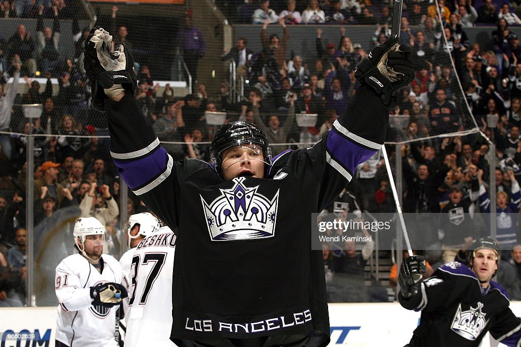 Dustin Brown #23 of the Los Angeles Kings celebrates a goal during a game against the Edmonton Oilers on February 11, 2010 at Staples Center in Los Angeles, California.