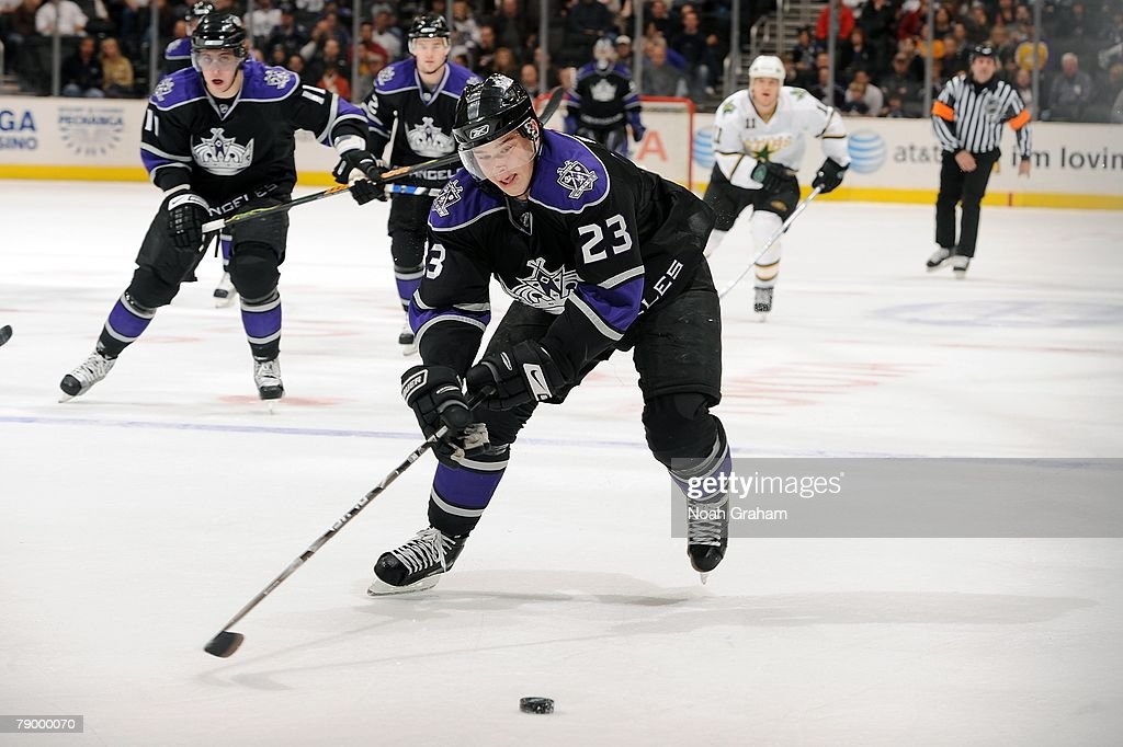 Dustin Brown #23 of the Los Angeles Kings chases down the puck during the game against the Dallas Stars on January 12, 2008 at Staples Center in Los Angeles, California.