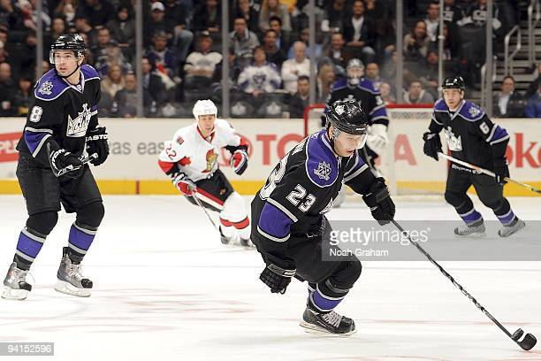 Dustin Brown of the Los Angeles Kings handles the puck during the game against the Ottawa Senators on December 3, 2009 at Staples Center in Los...