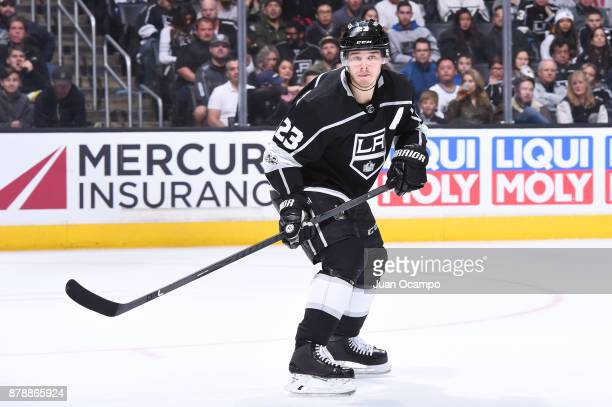 Dustin Brown of the Los Angeles Kings skates on ice during a game against the Winnipeg Jets at STAPLES Center on November 22 2017 in Los Angeles...
