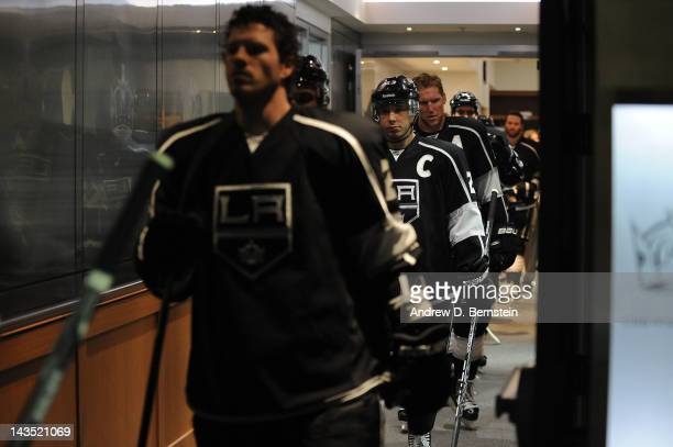 Dustin Brown of the Los Angeles Kings takes the ice to warm up prior to the game against the Vancouver Canucks in Game Four of the Western Conference...