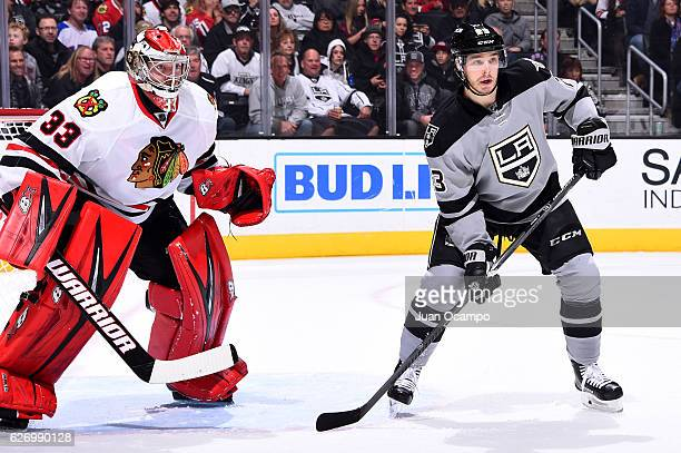 Dustin Brown of the Los Angeles Kings waits for a pass against Scott Darling of the Chicago Blackhawks during the game on November 26 2016 at Staples...