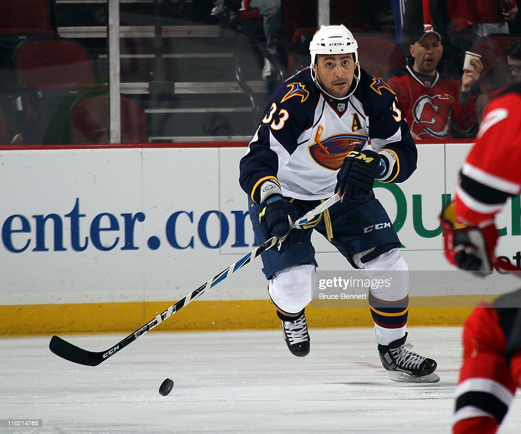 quality design 2ee05 38760 Dustin Byfuglien of the Atlanta Thrashers skates against the ...