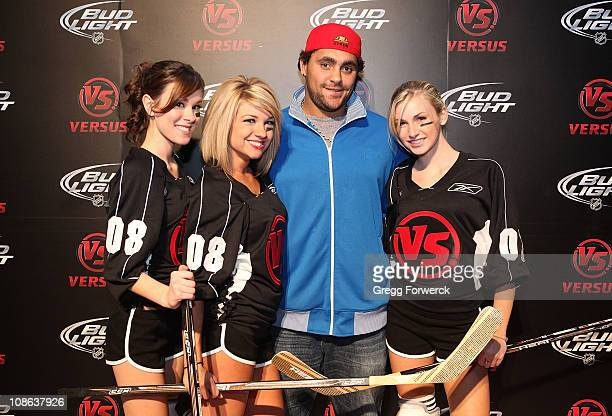 Dustin Byfuglien of the Atlanta Trashers arrives on the red carpet at the Versus NHL All Star after party following the 2011 NHL AllStar Game at the...