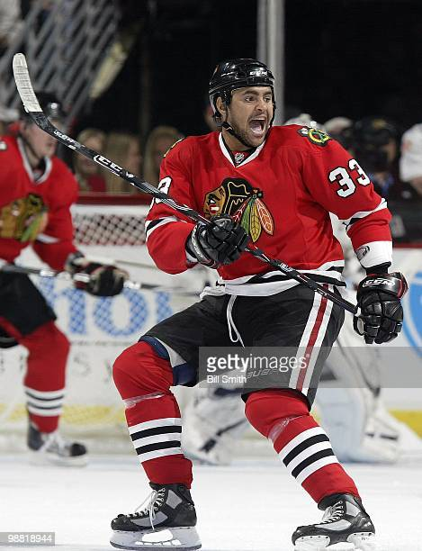 Dustin Byfuglien of the Chicago Blackhawks calls for the puck at Game Two of the Western Conference Quarterfinals against the Nashville Predators...