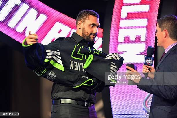 Dustin Byfuglien of the Winnipeg Jets and Team Foligno during the NHL AllStar Fantasy Draft as part of the 2015 NHL AllStar Weekend at Greater...