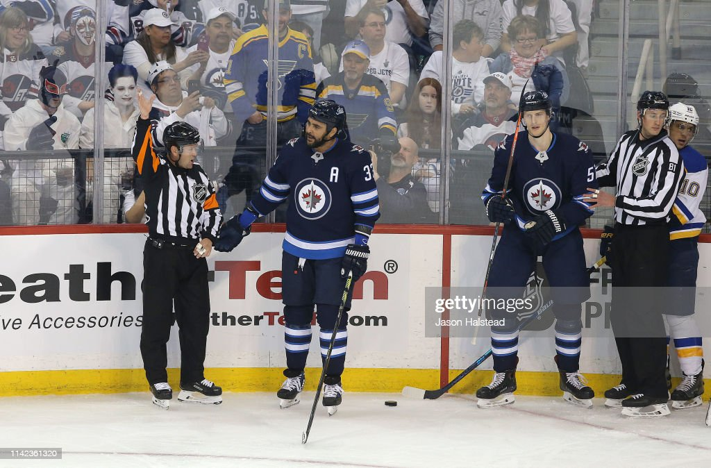 a638f36b Dustin Byfuglien of the Winnipeg Jets appeals to the referee after a ...